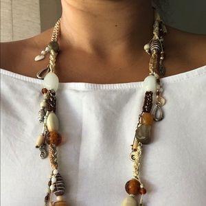 Macrame Bead and Chain Coastal Vibe Necklace